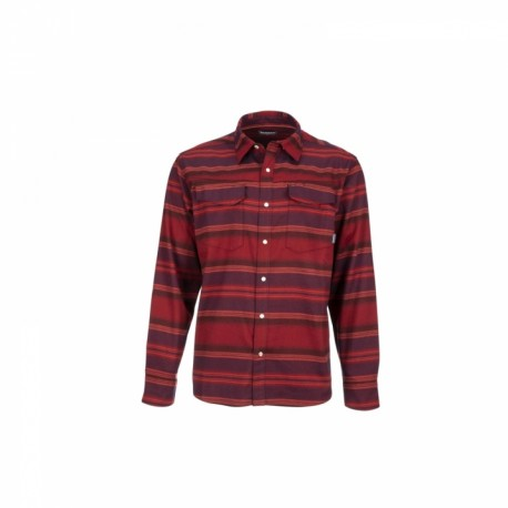Camisa Simms Gallatin Flannel AUBURN RED STRIPE